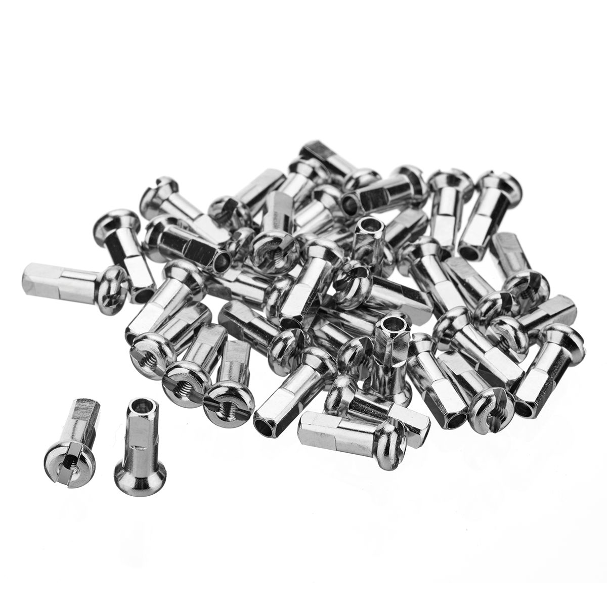 BRASS SPOKE NIPPLES SILVER / 40 PCS