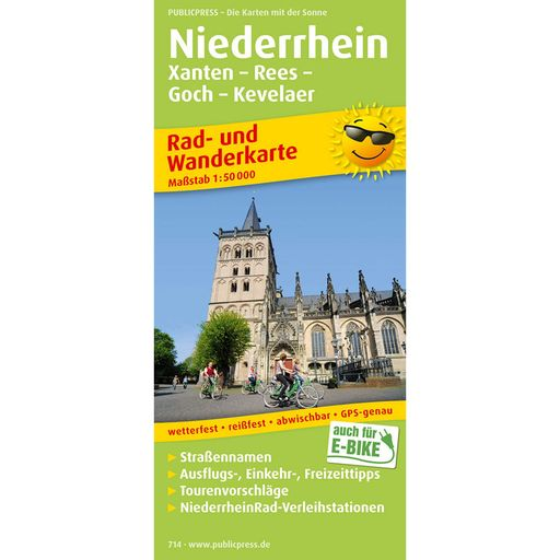 Lower Rhine – Xanten – Rees – Goch – Kevelaer cycling and hiking map